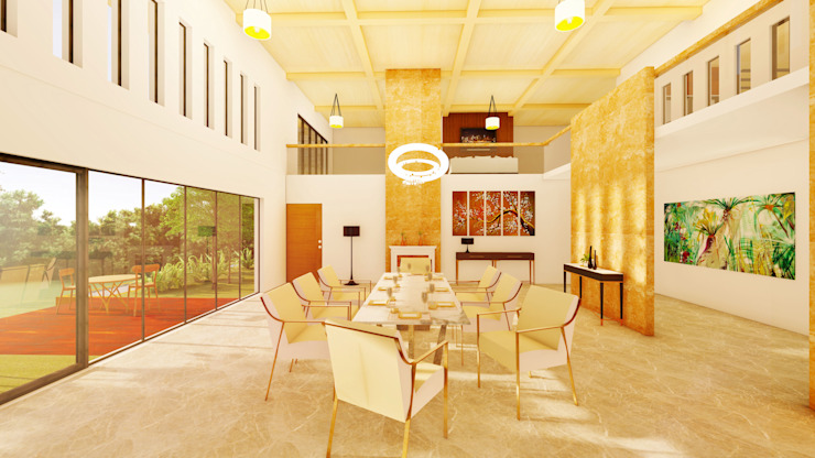South Carolina House - Dining Space NSBW Modern dining room Marble Multicolored