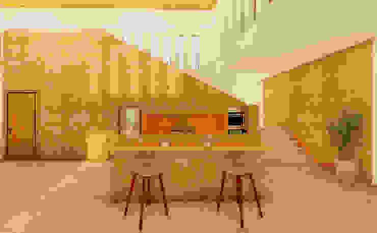 South Carolina House - Kitchen NSBW Modern kitchen Stone Amber/Gold