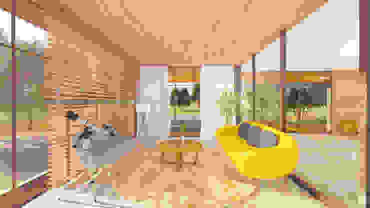 NSBW Modern living room Wood Yellow