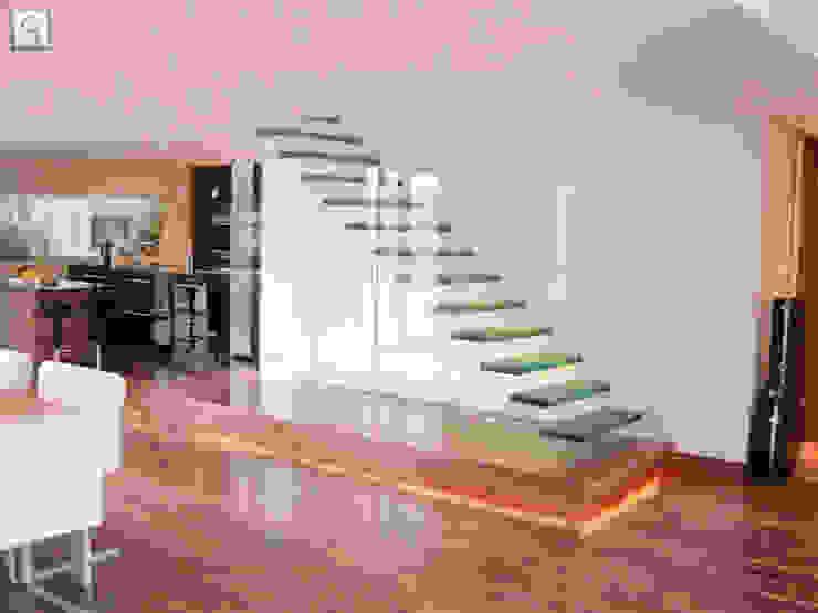 كاسل للإستشارات الهندسية وأعمال الديكور والتشطيبات العامة Corridor, hallway & stairsStairs Reinforced concrete Purple/Violet