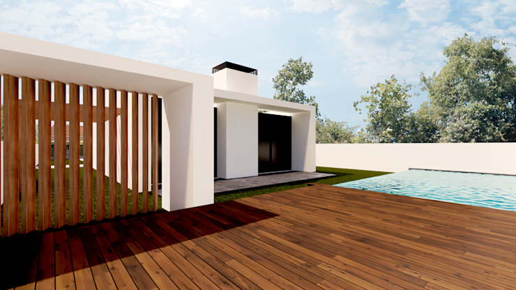Back yard área Linhas Simples Detached home White