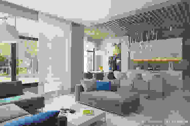 Интерьер современной гостиной с использованием реечного потолка Студия дизайна 'Линия интерьера' Гостиная в стиле минимализм