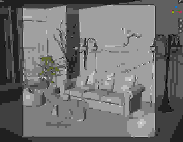 Design interni angolo muro mattoni e divano in cuoio Alessandro Chessa SoggiornoDivani & Poltrone