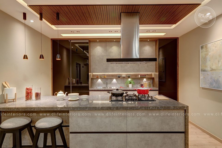 Customized Modular Kitchen Designed with Class DLIFE Home Interiors KitchenCabinets & shelves