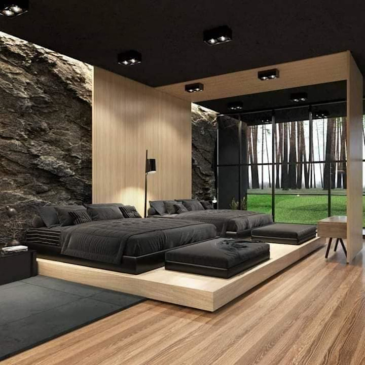 كاسل للإستشارات الهندسية وأعمال الديكور والتشطيبات العامة Small bedroom Plywood Black