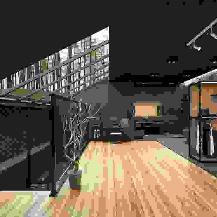 كاسل للإستشارات الهندسية وأعمال الديكور والتشطيبات العامة Modern corridor, hallway & stairs MDF Black