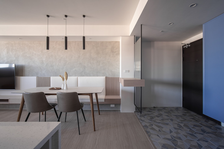 樓中樓 | 玄關櫃&餐廳 有隅空間規劃所 Scandinavian style dining room Concrete White