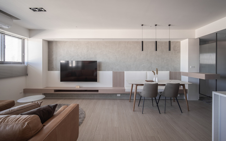 樓中樓 | 餐廳&電視牆 有隅空間規劃所 Living room Concrete White
