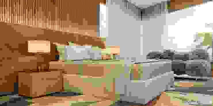 Camila Pimenta   Arquitetura + Interiores Modern Yatak Odası Ahşap Bej