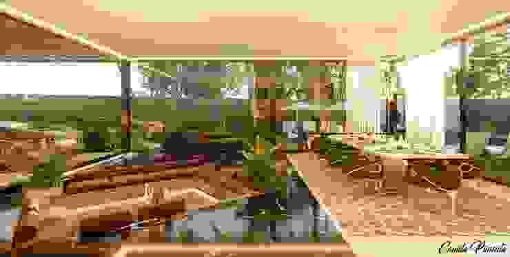 Área de Estar e Sala de Jantar Camila Pimenta | Arquitetura + Interiores Salas de jantar modernas Mármore Bege
