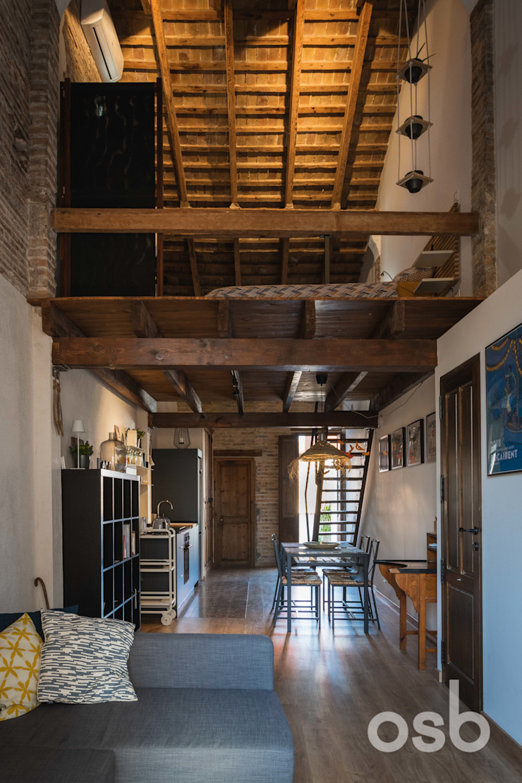 vista general osb arquitectos Dormitorios de estilo rústico Acabado en madera