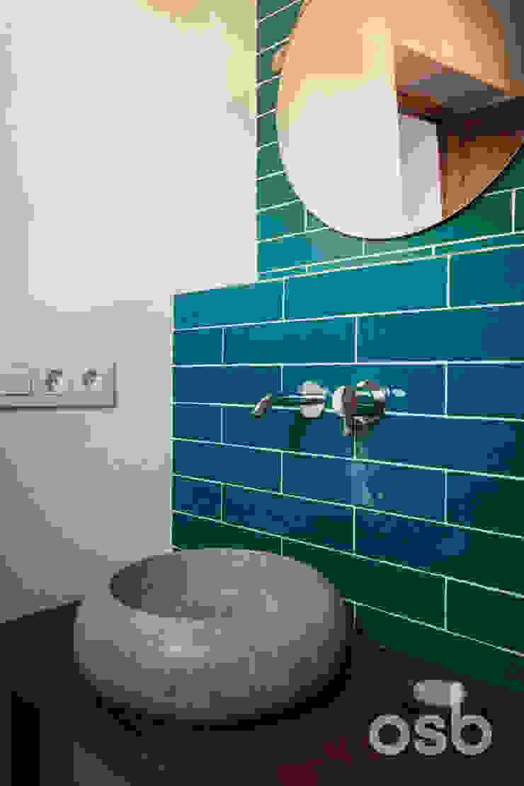 detalles baño osb arquitectos BañosLavabos Turquesa