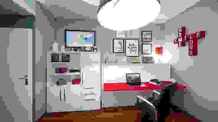 Progetto e realizzazione della parete letto con scrittoio Silvia Camporeale Interior Designer Camera da letto piccola Legno composito Bianco
