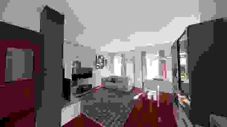 Progetto e renderizzazione dell'ambiente living Silvia Camporeale Interior Designer Soggiorno moderno Legno composito Grigio
