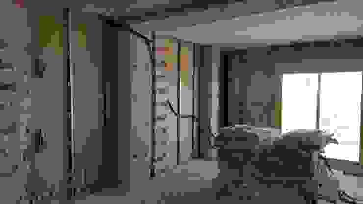 Vorher- Nachher Hemme & Cortell Construcciones S.L. Kleines Schlafzimmer Gummi Transparent