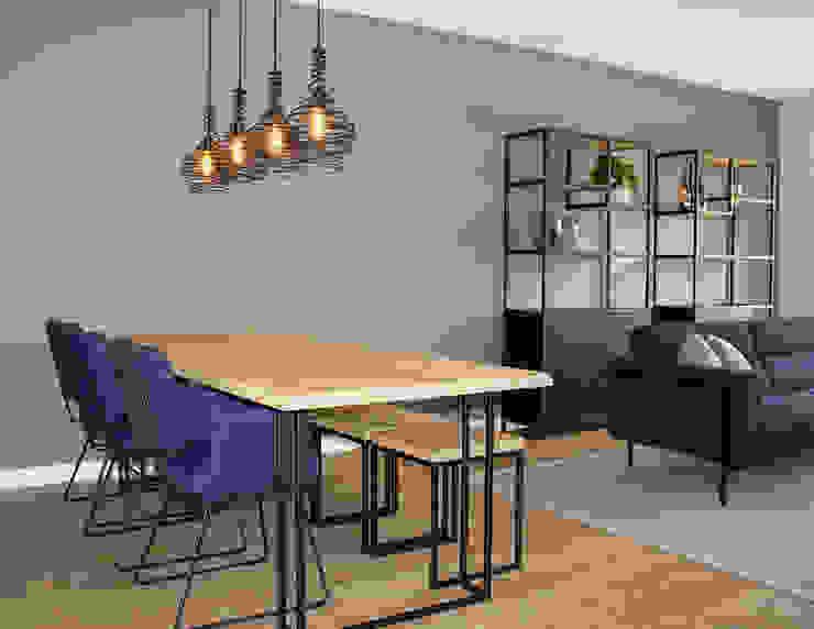 Eetkamer MIRA Interieur & Meubelontwerp Industriële woonkamers Grijs