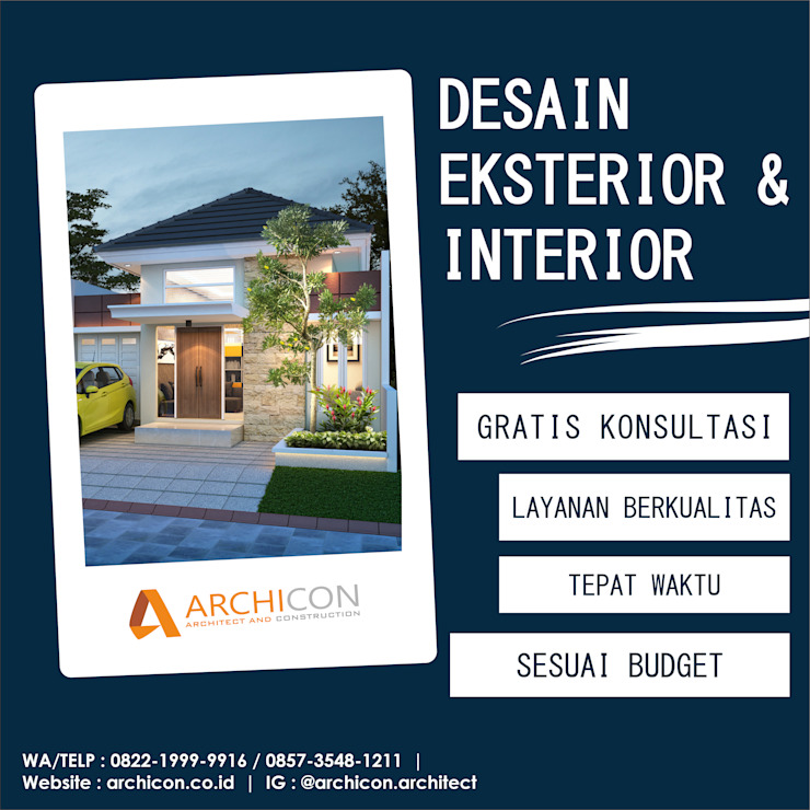 Jasa Arsitek Bandung   Jasa Desain Rumah Bandung   Jasa Desain Interior Bandung   Kota Bandung   Jasa kontraktor Bandung Archicon Architect Koridor & Tangga Gaya Mediteran Batu Tulis Grey