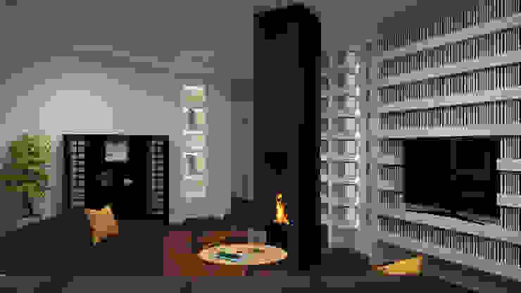 Dual Smart… working ibedi laboratorio di architettura Soggiorno minimalista Ferro / Acciaio Bianco