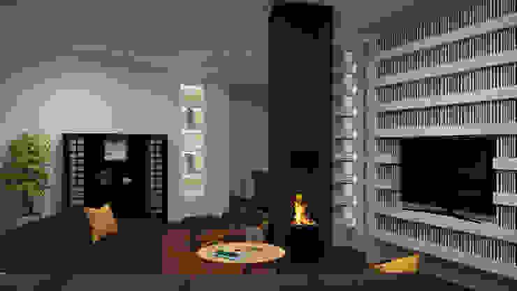 Dual Smart… working ibedi laboratorio di architettura Soggiorno in stile industriale Metallo Nero