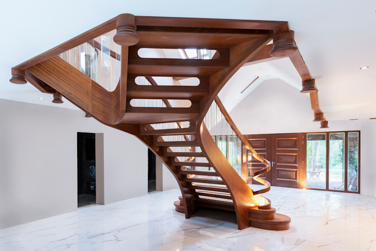 Curved staircase back side view Dan Wray Photography Stairs Wood Wood effect