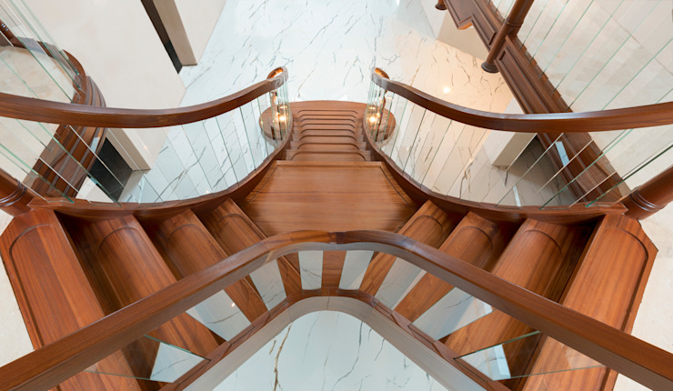Curved staircase top view Dan Wray Photography Stairs Wood Wood effect