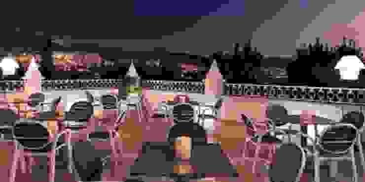Terraza panorámica Techluz Iluminación Hoteles de estilo colonial