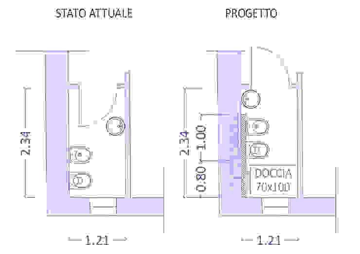 Ristrutturazione di mini bagno Arch. Sara Pizzo - Studio 1881 Bagno moderno Ceramica Blu