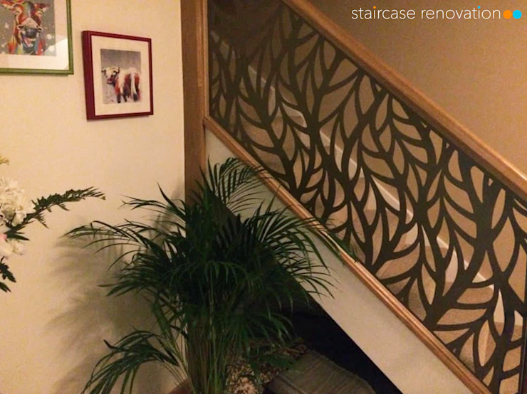 Renovated staircase with laser cut infill Staircase Renovation Tangga Metal