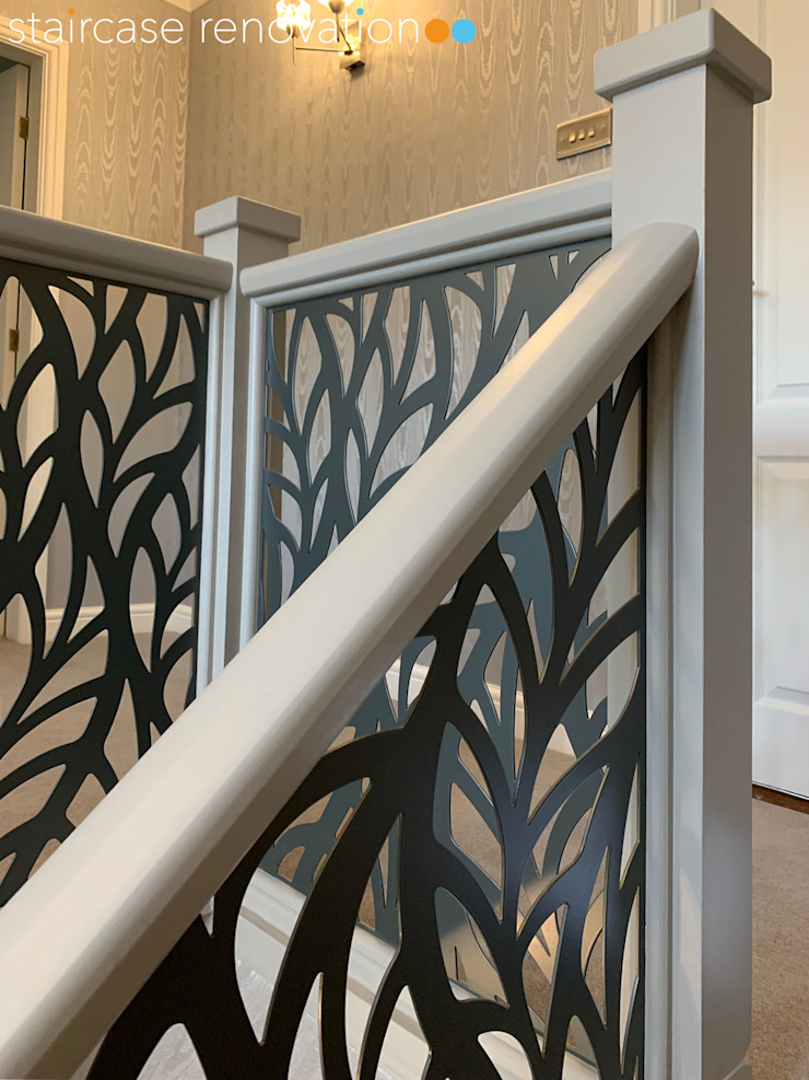 Renovated staircase with laser cut infill - Frond design Staircase Renovation Tangga Metal