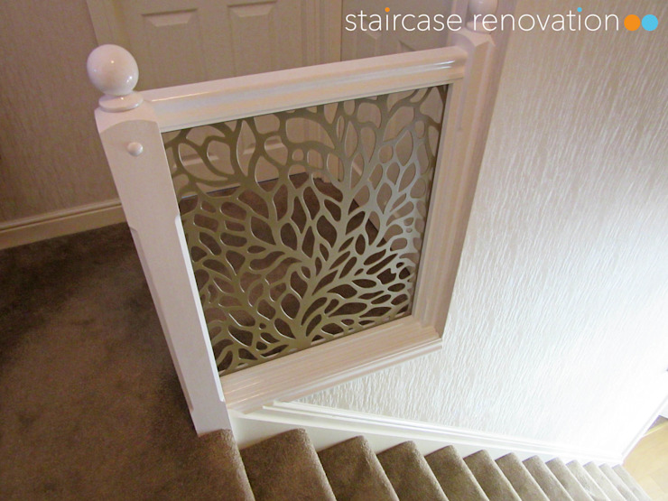 Laser cut balustrade infill panels replacing wooden spindles Staircase Renovation Stairs Metal