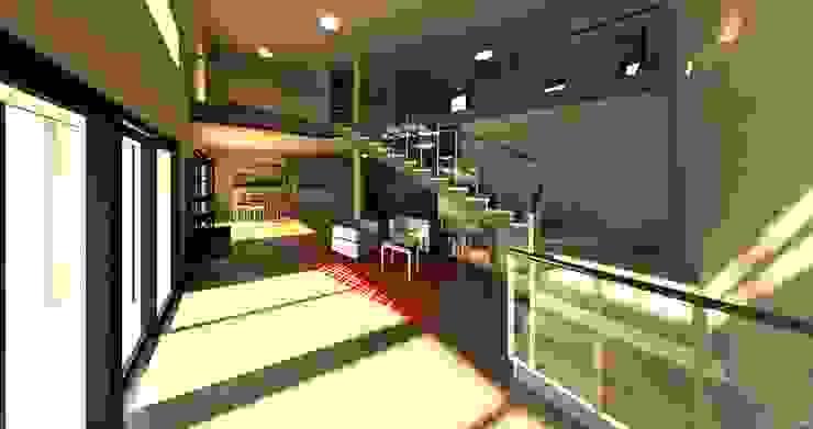 Doble altura. Desde Salón en planta baja Acedo Arquitectura Salones de estilo minimalista Beige