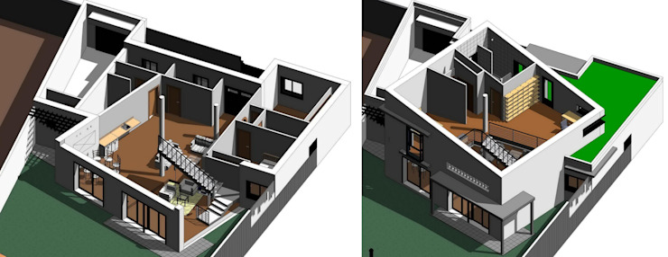 Vista tridimensional por planta Acedo Arquitectura Escaleras