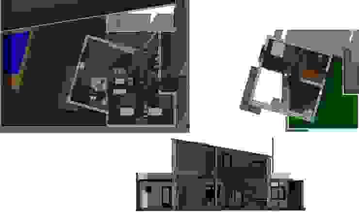 Plantas coloreadas. Planta baja y alta. Sección por salón Acedo Arquitectura Comedores de estilo minimalista