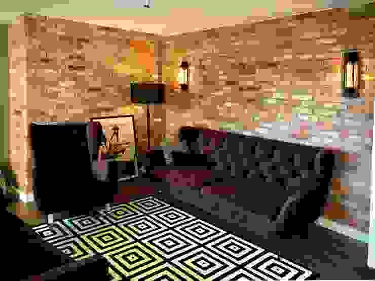 Wohnzimmerrückwand mit Klinkerriemchen Antik-Stein Rustikale Wohnzimmer