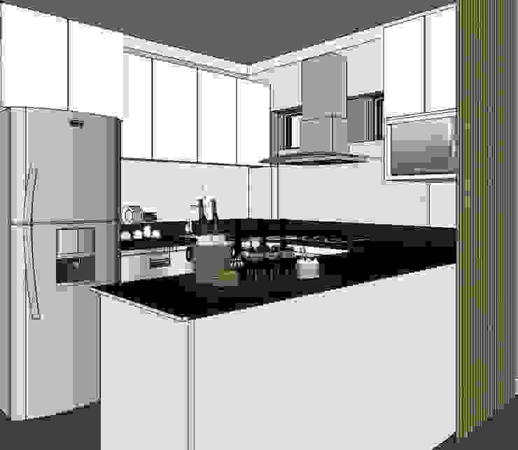 Cocina y lavandería Shirley Palomino Cocinas de estilo escandinavo Aglomerado Blanco