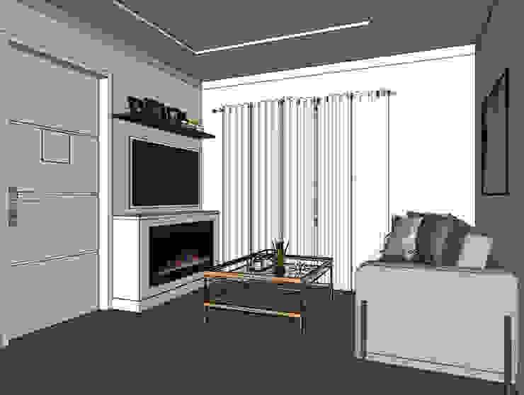 Vista de sala principal Shirley Palomino Salas / recibidores Ladrillos Gris