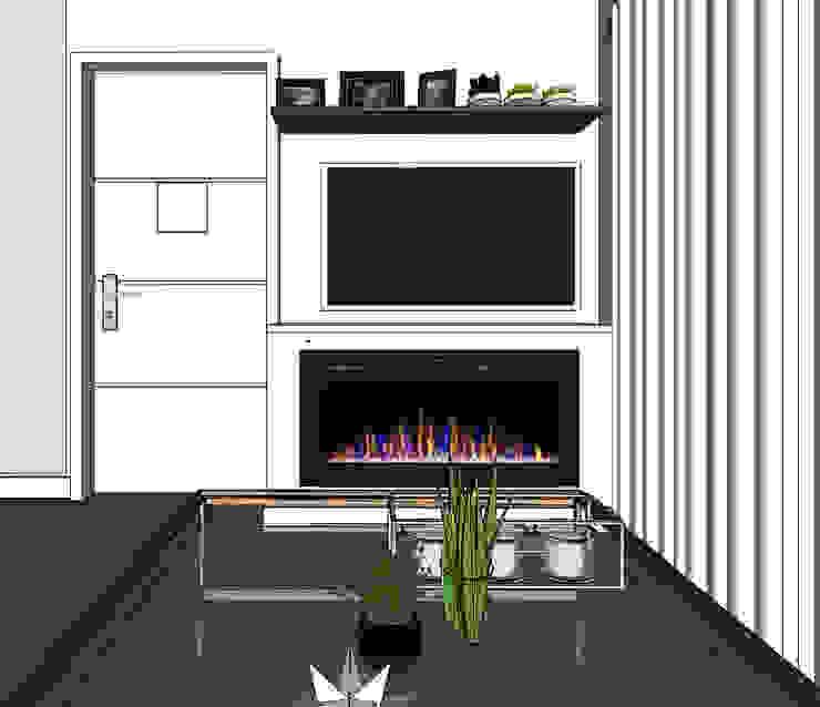 Vista de sala y centro de tv con chimenea Shirley Palomino Salas / recibidores Concreto Gris