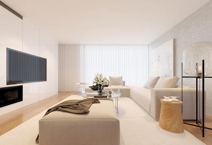 Remodelação de Apartamento no Parque das Exposições- Lisboa 10Place - Creating Home Salas de estar modernas