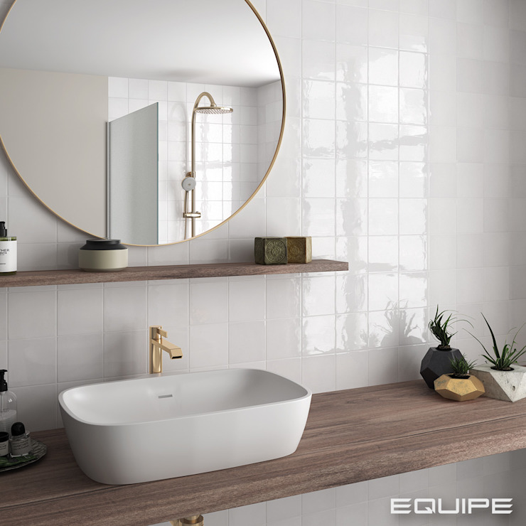 Equipe Ceramicas Mediterranean style bathrooms Tiles White