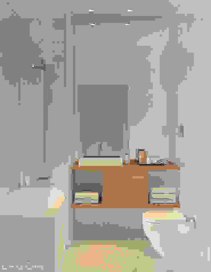 Casa de banho Lagom studio Casas de banho escandinavas Madeira Branco