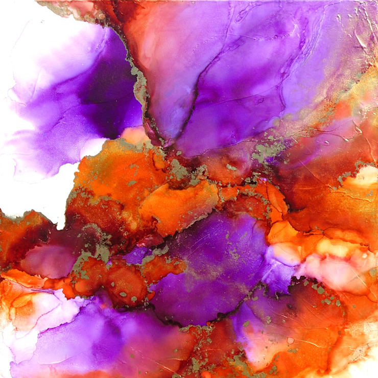 Fluid Alcohol Ink Art, Large Original Painting, Fluid Art, Purple, Orange and Gold Colors . Abstract Art, Modern Contemporary Alcohol Ink Painting, Contemporary Office wall art EMBERVALE by Holly Anderson Fine Art Holly Anderson Fine Art ArtworkPictures & paintings Purple/Violet