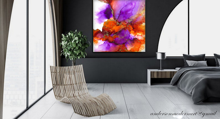 Fluid Alcohol Ink Art, Large Original Painting, Fluid Art, Purple, Orange and Gold Colors . Abstract Art, Modern Contemporary Alcohol Ink Painting, Contemporary Office wall art EMBERVALE by Holly Anderson Fine Art Holly Anderson Fine Art Office spaces & stores