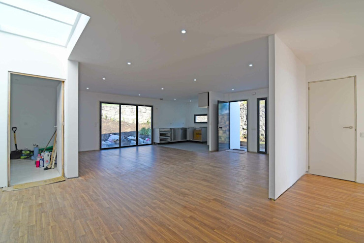BLOC Casa Modular / Moradia T4 com 140 m2 - Vista interior Sala + cozinha BLOC - Casas Modulares