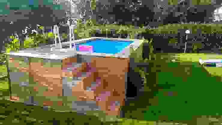 Piscina fuori terra rivestita in legno, montaggio fai da te, modello Clik Clak® Aquazzura Piscine Giardino con piscina