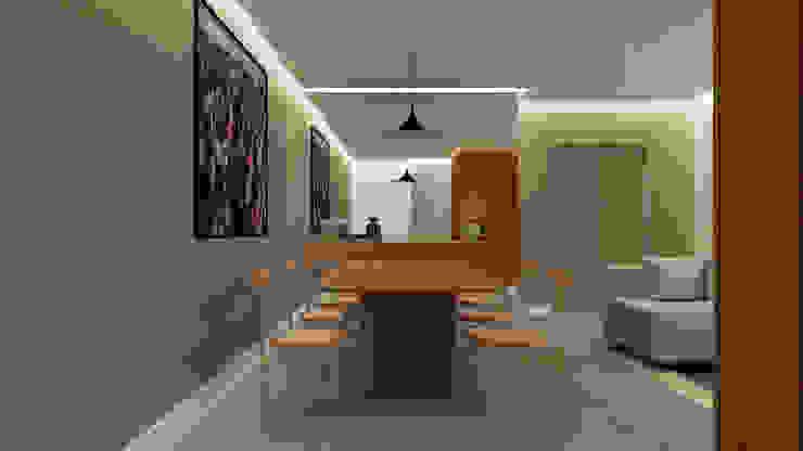 Sala de jantar - Projeto Santa Clara Ribeiro Moraes - Construção e Design de Interiores Salas de jantar modernas Betão Acabamento em madeira