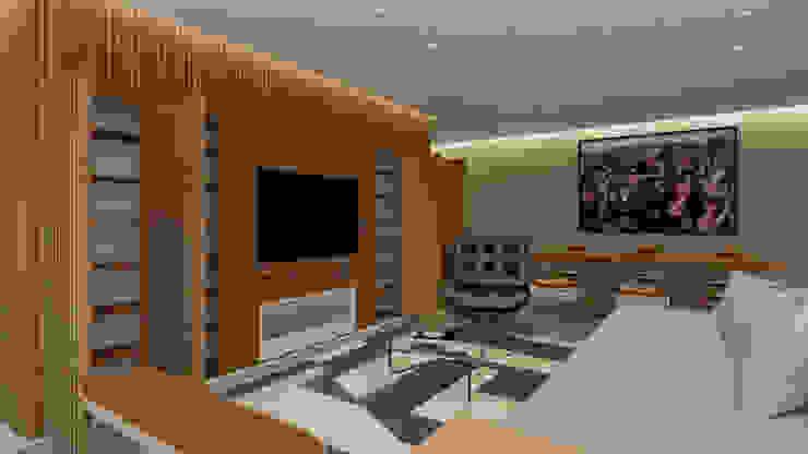 Sala - Projeto Santa Clara Ribeiro Moraes - Construção e Design de Interiores Salas de estar modernas Madeira Acabamento em madeira