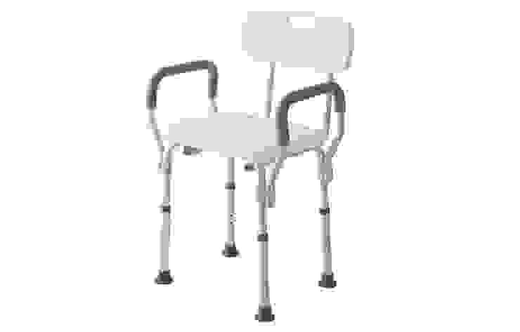 Sedia doccia con schienale e braccioli, colore bianco, regolabile da 43 a 53 cm Inbagno BagnoSedute Alluminio / Zinco Bianco