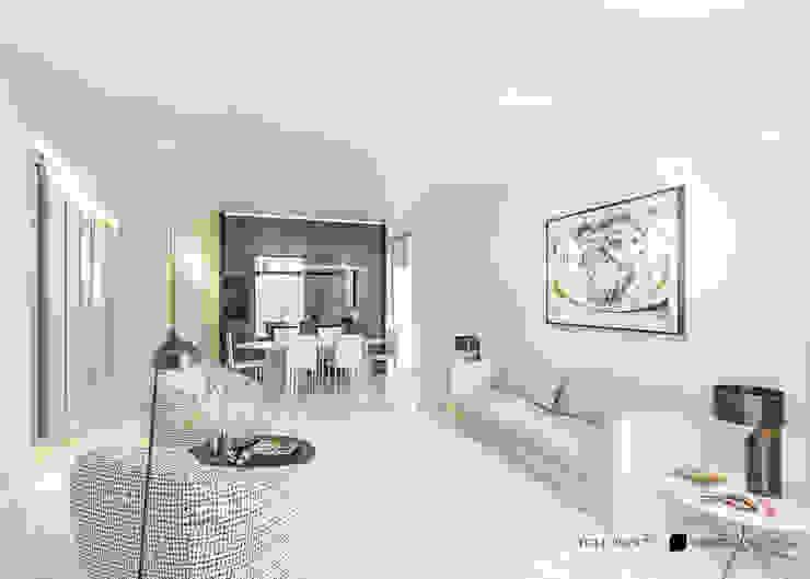 Living sofisticado e cosmopolita OTHERSIDE ARCHITECTS Salas de estar modernas Bege