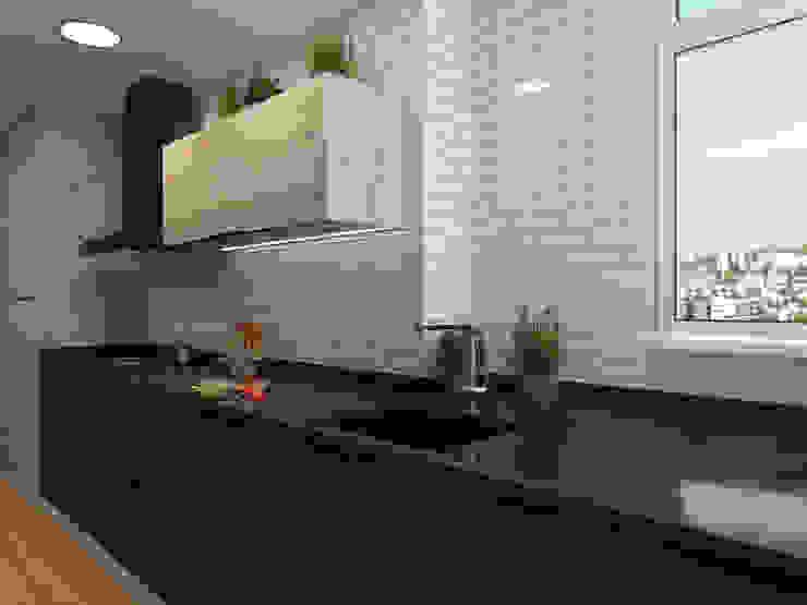 Cocina moderna en color grafito y madera ZERMATT DECORACION S.L Módulos de cocina Aglomerado Negro