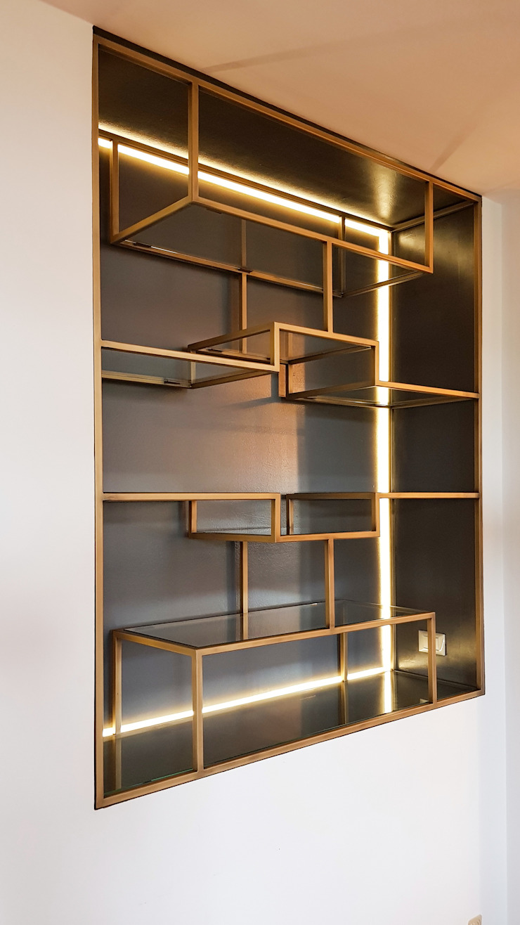 Libreria viemme61 SoggiornoScaffali Metallo Ambra/Oro
